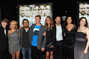 """(L-R) Actors Chase Ellison, Hayden Panettiere, Writer/Director Dennis Lee, actors Cayden Boyd, Julia Roberts, George Newbern, Carrie-Anne Moss arrive at the """"Fireflies In The Garden"""" Premiere at Pacific Theaters at the Grove on October 12, 2011 in Los Angeles, California."""