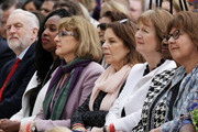 Labour Leader Jeremy Corbyn (L), Labour MP Dawn Butler (2nd L) and Labour MP Harriet Harman (2nd R) attend the official unveiling of a statue in honour of the first female Suffragette Millicent Fawcett in Parliament Square on April 24, 2018 in London, England. The statue of women's suffrage leader Millicent Fawcett is the first monument of a woman and the first designed by a woman, Turner Prize-winning artist Gillian Wearing OBE, to take a place in parliament Square.