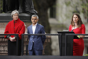 British Prime Minister Theresa May (L) and Mayor of London Sadiq Khan listen as activist Caroline Criado-Perez speaks during the official unveiling of a statue in honour of the first female Suffragette Millicent Fawcett in Parliament Square on April 24, 2018 in London, England. The statue of women's suffrage leader Millicent Fawcett is the first monument of a woman and the first designed by a woman, Turner Prize-winning artist Gillian Wearing OBE, to take a place in parliament Square.
