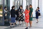 U.S. First Lady Melania Trump and Japan's first lady Akie Abe are given a tour of the Flagler museum by Erin Manning, executive director of the Museum, on April 18, 2018 in Palm Beach, Florida. The first ladies accompanied their husbands U.S. President Donald Trump and Japan's Prime Minister Shinzo Abe to Palm Beach.