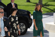 U.S. first lady Melania Trump and Japan's first lady Akie Abe arrive for a tour of the Flagler museum on April 18, 2018 in Palm Beach, Florida. The first ladies accompanied their husbands U.S. President Donald Trump and Japan's Prime Minister Shinzo Abe to Palm Beach.