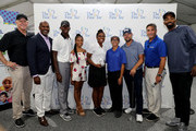 Boomer Esiason, The First Tee CEO Keith Dawkins,Cameren Dawkins of the First Tee, actress Skai Jackson, The First Tee participant Janeyce McCray, participant Matvey Pangan, PGA's Ryan Moore, Golf channel's Bob Papa and the NBA's JR Smith pose for a picture at The First Tee Experience At The Northern Trust at Ridgewood Country Club on August 21, 2018 in Paramus, New Jersey.
