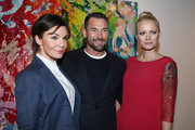 (L-R) Nadine Warmuth, Michael Michalsky and Franziska Knuppe attend Flair Magazine Party at Pariser Platz 4  on January 15, 2013 in Berlin, Germany.
