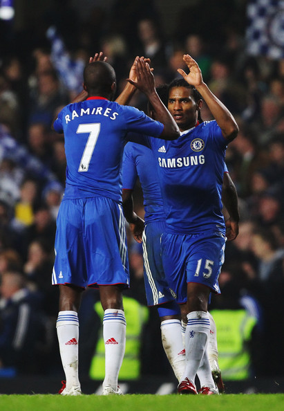 Florent Malouda Florent Malouda (R) of Chelsea celebrates with team mate Ramires (L) after scoring during the Barclays Premier League match between Chelsea and Bolton Wanderers at Stamford Bridge on December 29, 2010 in London, England.