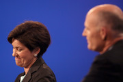 Florida Gubernatorial candidates, Democrat Alex Sink (L) reacts while debating with Republican Rick Scott on October 25, 2010 at the University of South Florida in Tampa, Florida. Sink is currently the Chief Financial Officer for the state of Florida. Scott is the former CEO of the healthcare company Columbia/HCA.