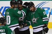 (L-R) Jason Spezza #90, Jamie Benn #14 and Tyler Seguin #91 of the Dallas Stars celebrate the game winning goal against the Florida Panthers in the third period during a preseason game at American Airlines Center on September 29, 2014 in Dallas, Texas.