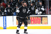 Robyn Regehr #44 of the Los Angeles Kings reacts after scoring a second period goal against the Florida Panthers at Staples Center on November 18, 2014 in Los Angeles, California. The Kings won 5-2.