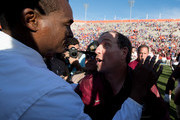 Head coaches Jimbo Fisher of the Florida State Seminoles and Randy Shannon of the Florida Gators shake hands after the game at Ben Hill Griffin Stadium on November 25, 2017 in Gainesville, Florida.