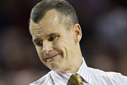 Head Coach Billy Donovan of the Florida Gators looks down his bench during a game against the Arkansas Razorbacks at Bud Walton Arena on February 5, 2013 in Fayetteville, Arkansas.  The Razorbacks defeated the Gators 80-69.