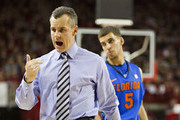 Head Coach Billy Donovan of the Florida Gators yells at his players on the bench during a game against the Arkansas Razorbacks at Bud Walton Arena on February 18, 2012 in Fayetteville, Arkansas.  The Gators defeated the Razorbacks 98-68.