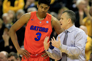 Head coach Billy Donovan of the Florida Gators talks with Devin Robinson #3 during the game against the Missouri Tigers at Mizzou Arena on February 24, 2015 in Columbia, Missouri.