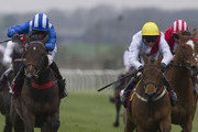 Paul Hanagan riding Estedaama win The Claydon Horse Exercisers Maiden Stakes at Folkestone racecourse on April 05, 2012 in Folkestone, England.