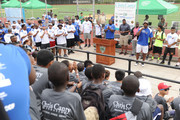 Food Bank For New York City kicks off EATWISE, it's summer nutrition awareness program for teens with NFL superstar and Food Bank ambassador Chris Canty at his Camp Of Champions at George Washington High School Field on June 29, 2015 in New York City.