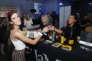 Guests at America's Greatest Sandwich Showdown presented by Goldbelly hosted by Adam Richman and Joe Ariel during the New York City Wine and Food Festival at Highline Stages on October 13, 2019 in New York City.