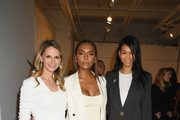 (L-R) Surgeon Dr. Niamey Wilson, author Janet Mock and model Chanel Iman attend Forevermark Diamonds Females In Focus Photo Exhibition Event on December 6, 2018 in New York City.