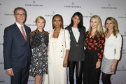 (L-R) Forevermark President Charles Stanley poses with Michelle Williams, Janet Mock, Chanel Iman, Sophie Elgort and Dr. Niamey Wilson at Forevermark Diamonds Females In Focus Photo Exhibition Event on December 6, 2018 in New York City.