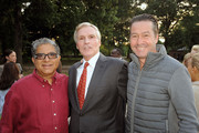 (L-R) Deepak Chopra, Ray Chambers and Chris Clark attend Forgive for Peace Kickoff at Mineral Springs in Central Park on September 21, 2015 in New York City.
