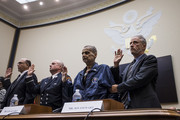 Former Daily Show Host Jon Stewart in before testifying during a House Judiciary Committee hearing on reauthorization of the September 11th Victim Compensation Fund on Capitol Hill on June 11, 2019 in Washington, DC. Also pictured are Retired Federal Bureau of Investigation Special Agent and 9/11 responder Thomas Mohnal, Retired Fire Department of New York Lieutenant and 9/11 responder Michael O'Connel, and Retired New York Police Department detective and 9/11 responder Luis Alvarez.