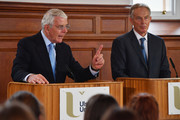 Sir John Major and Tony Blair share a platform as they make a joint EU appeal on June 9, 2016 in Derry, Northern Ireland. Former British Prime Ministers Sir John Major and Tony Blair travelled to Derry City in Northern Ireland warning that voting to leave the EU could 'jeopardise the unity' of the UK. They suggested that it may cause Scotland to re-visit an independence referendum and put Northern Ireland's 'future at risk'. Both politicians were instrumental in bringing peace to the region. The Vote Leave campaign has said the idea that a Brexit could threaten the Northern Ireland Peace Process was irresponsible.