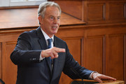 """Tony Blair speaks at a Remain campaign at the University of Ulster  on June 9, 2016 in Derry, Northern Ireland. Former British Prime Ministers Sir John Major and Tony Blair travelled to Derry City in Northern Ireland warning that voting to leave the EU could """"jeopardise the unity"""" of the UK. They suggested that it may cause Scotland to re-visit an independence referendum and put Northern Ireland's """"future at risk"""".  Both politicians were instrumental in bringing peace to the region.  The Vote Leave campaign has said the idea that a Brexit could threaten the Northern Ireland Peace Process was irresponsible."""