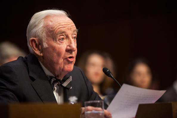 """Former Supreme Court Justice John Paul Stevens testifies before the Senate Committee on Campaign Finance on Capitol Hill April 30, 2014 in Washington, DC. Stevens is testifying on a hearing entitled """"Dollars and Sense: How Undisclosed Money and Post-McCutcheon Campaign Finance Will Affect 2014 and Beyond""""."""