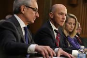 "(L-R) Interim CEO of Equifax Paulino Barros, former CEO of Equifax Richard Smith and former CEO of Yahoo Marissa Mayer testify during a hearing before Senate Commerce, Science and Transportation Committee November 8, 2017 on Capitol Hill in Washington, DC. The committee held a hearing on ""Protecting Consumers in the Era of Major Data Breaches."""