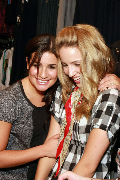 Dianna Agron Lea Michele and Dianna Agron attend The Gleek Tour at Hot Topic