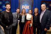 (L-R) Musician Harry Connick, Jr., host Ryan Seacrest, Dana Walden, Co-Chair, Fox Broadcasting, singer Jennifer Lopez, musician Keith Urban and Gary Newman, Co-Chair, Fox Broadcasting pose at the Fox Winter TCA All-Star Party at the Langham Huntington Hotel on January 17, 2015 in Pasadena, California.