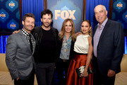 (L-R) Host Ryan Seacrest, musician Harry Connick, Jr., Dana Walden, Co-Chair, Fox Broadcasting, singer Jennifer Lopez and Gary Newman, Co-Chair, Fox Broadcasting pose at the Fox Winter TCA All-Star Party at the Langham Huntington Hotel on January 17, 2015 in Pasadena, California.