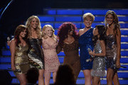 """(L-R) Singers Skylar Laine, Elise Testone, Hollie Cavanagh, Chaka Khan, Erika Van Pelt, Jessica Sanchez, and Shannon Magrane perform onstage during Fox's """"American Idol 2012"""" results show at Nokia Theatre L.A. Live on May 23, 2012 in Los Angeles, California."""