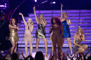 """(L-R) Singers Skylar Laine, Hollie Cavanagh, Elise Testone, Chaka Khan, Jessica Sanchez, Erika Van Pelt, and Shannon Magrane perform onstage during Fox's """"American Idol 2012"""" results show at Nokia Theatre L.A. Live on May 23, 2012 in Los Angeles, California."""