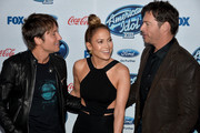 """(L-R) Judges Keith Urban, Jennifer Lopez and Harry Connick, Jr. attend FOX's """"American Idol XIII"""" finalists party at Fig & Olive Melrose Place on February 20, 2014 in West Hollywood, California."""