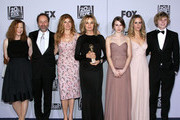 (L-R) Actress Frances Conroy, FX president John Landgraf, actors Connie Britton, Jessica Lange, Taissa Farmiga, Sarah Paulson and Evan Peters arrive at NBC Universal's 69th Annual Golden Globe Awards After Party at The Beverly Hilton hotel on January 15, 2012 in Beverly Hills, California.