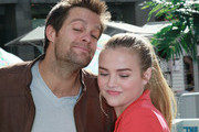 "Actors Geoff Stults (L) and Maddie Hasson attend Fox's ""The Finder"" Challenge at Hollywood & Highland Courtyard on January 9, 2012 in Hollywood, California."