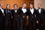 """(L-R) Jon Kilik, Megan Ellison, Mark Ruffalo, Channing Tatum, director Bennett Miller and Steve Carell attend the """"Foxcatcher"""" premiere during the 67th Annual Cannes Film Festival on May 19, 2014 in Cannes, France."""