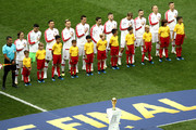 Croatia lines up prior to the 2018 FIFA World Cup Final between France and Croatia at Luzhniki Stadium on July 15, 2018 in Moscow, Russia.