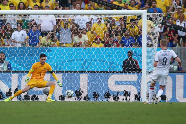 Hugo Lloris of France saves the shot of Andre Schuerrle of Germany during the 2014 FIFA World Cup Brazil Quarter Final match between France and Germany at Maracana on July 4, 2014 in Rio de Janeiro, Brazil.