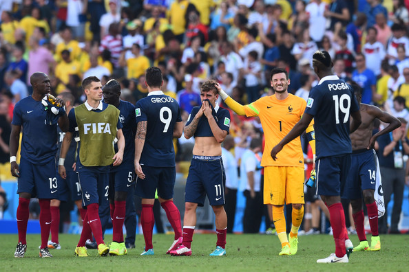 (L-R) Eliaquim Mangala, Morgan Schneiderlin, Olivier Giroud, Antoine Griezmann, Hugo Lloris and Paul Pogba of France react after being defeated by Germany 1-0 during the 2014 FIFA World Cup Brazil Quarter Final match between France and Germany at Maracana on July 4, 2014 in Rio de Janeiro, Brazil.