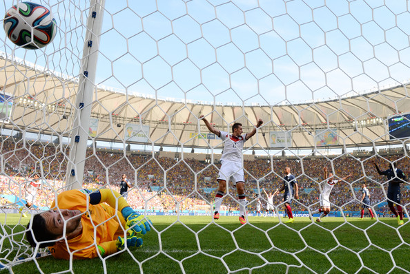 Miroslav Klose of Germany celebrates his team's first goal scored by Mats Hummels (not pictured) on a header past Hugo Lloris of France during the 2014 FIFA World Cup Brazil Quarter Final match between France and Germany at Maracana on July 4, 2014 in Rio de Janeiro, Brazil.