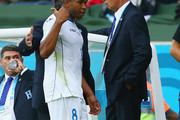 Wilson Palacios of Honduras (2nd L) leaves the field after being sent off during the 2014 FIFA World Cup Brazil Group E match between France and Honduras at Estadio Beira-Rio on June 15, 2014 in Porto Alegre, Brazil.