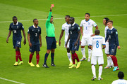 Wilson Palacios of Honduras is shown a red card by referee Sandro Ricci during the 2014 FIFA World Cup Brazil Group E match between France and Honduras at Estadio Beira-Rio on June 15, 2014 in Porto Alegre, Brazil.