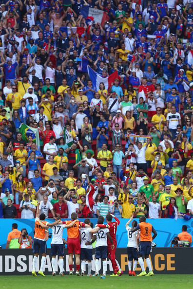 France acknowledge the fans after defeating Nigeria 2-0 during the 2014 FIFA World Cup Brazil Round of 16 match between France and Nigeria at Estadio Nacional on June 30, 2014 in Brasilia, Brazil.