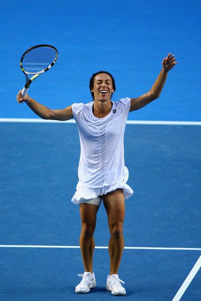 Francesca Schiavone Francesca Schiavone of Italy celebrates after winning her fourth round match against Svetlana Kuznetsova of Russia during day seven of the 2011 Australian Open at Melbourne Park on January 23, 2011 in Melbourne, Australia.