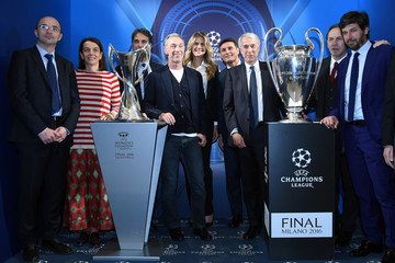 Franco Baresi The UEFA Champions League Trophy Is Displayed In Milan