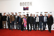 (L-R) Andrew Starke, Mark Monero, Sam Riley, Tom Davis, Armie Hammer, Ben Wheatley, Amanda Nevill, Clare Stewart, Babou Ceesay, Sharlto Copley, Michael Smiley, Cillian Murphy, Enzo Cilenti, Jack Reynor and guest attend the 'Free Fire' Closing Night Gala screening during the 60th BFI London Film Festival at Odeon Leicester Square on October 16, 2016 in London, England.