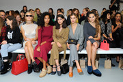 Wallis Day (2ndL), Doina Ciobanu (R) and guests attend the Barbara Casasola show during London Fashion Week Spring/Summer collections 2017 on September 17, 2016 in London, United Kingdom.