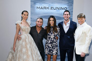 (L-R) Model, designer Mark Zunino, television personalities Andi Dorfman and Josh Murray, and Kleinfeld Bridal Fashion Director Terry Hall attend front row at The Mark Zunino For Kleinfeld 2015 Runway Show at Kleinfeld on October 14, 2014 in New York City.