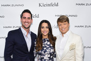 (L-R) Television personalities Josh Murray, Andi Dorfman and Kleinfeld Bridal Fashion Director Terry Hall attend front row at The Mark Zunino For Kleinfeld 2015 Runway Show at Kleinfeld on October 14, 2014 in New York City.