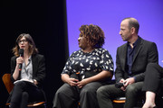 (L-R) Moderator Carrie Brownstein, Writer/corresponder Ashley Nicole Black and Producer/contributer Mike Rubens speak onstage at the Full Frontal with Samantha Bee FYC Event 2017 LA at the Samuel Goldwyn Theater on May 23, 2017 in Beverly Hills, California. 27026_002