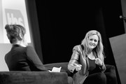 Image has been converted to black and white.) Moderator Molly Ringwald (L) and Executive Producer & Host Samantha Bee speak onstage during 'Full Frontal with Samantha Bee' FYC Event Los Angeles at The WGA Theater on May 24, 2018 in Beverly Hills, California.